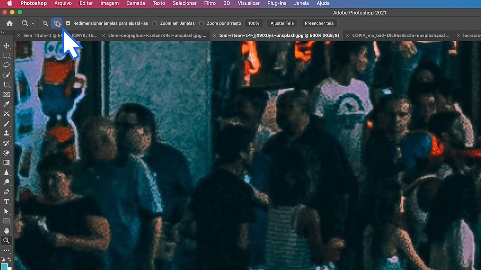 Como diminuir o zoom no Photoshop
