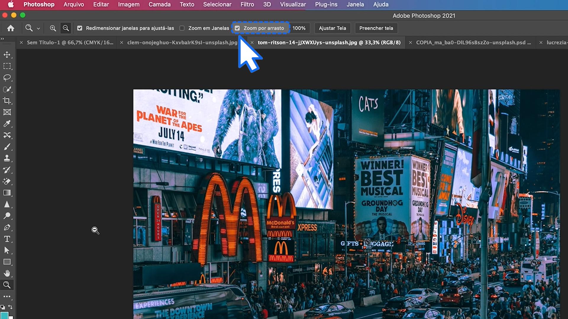 Como ativar o zoom por arrastro no Photoshop