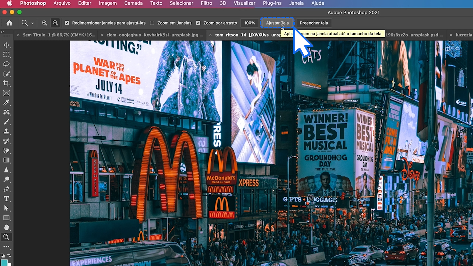 Como ajustar a imagem na tela do Photoshop