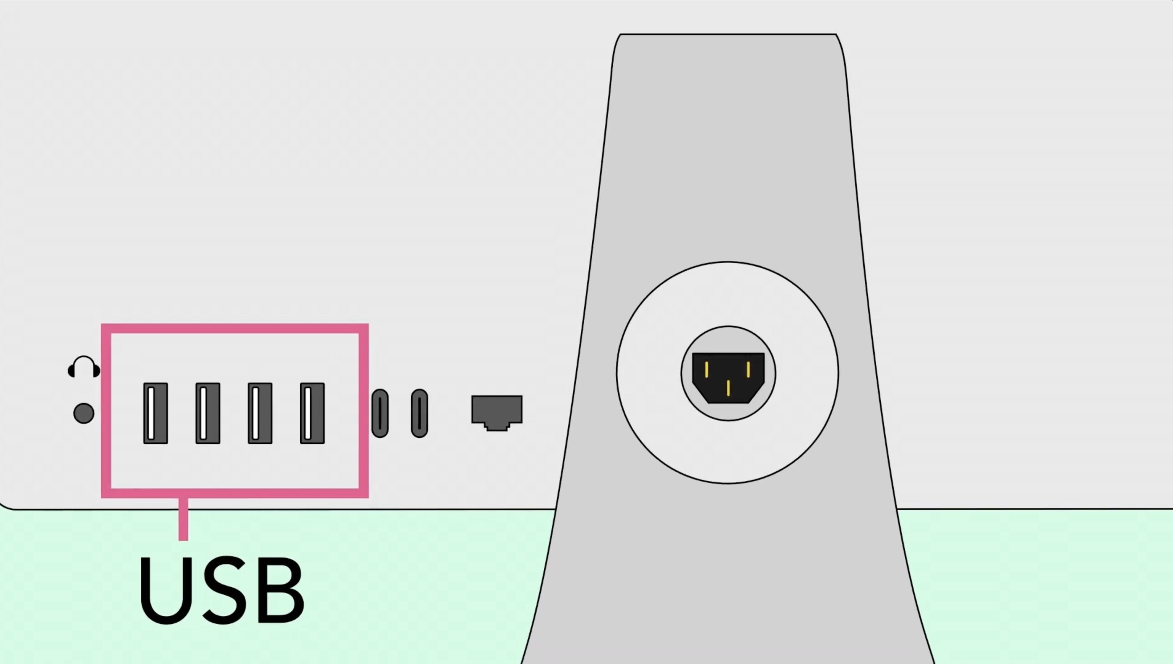 As entradas USB de um computador