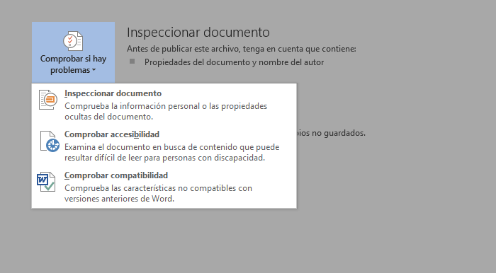 Opción Inspeccionar documento