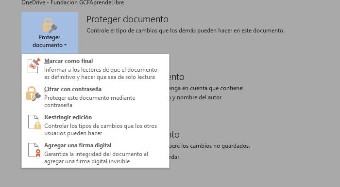 Opción proteger documento dentro de el panel de Información.