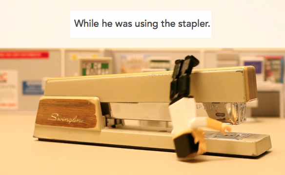 While he was using the stapler.