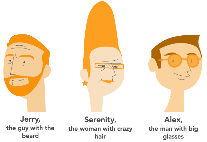 1. Jerry, the guy with the beard 2. Serenity, the woman with crazy hair 3. Alex, the man who wears glasses