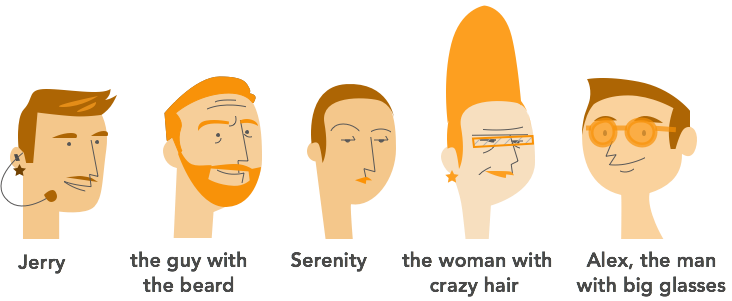1. Jerry 2. the guy with the beard 3. Serenity 4. the woman with crazy hair 5. Alex, the man with big glasses