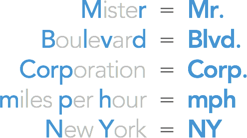 Mister = Mr. / Boulevard = Blvd. / corporation = corp. / miles per hour = mph / New York = NY