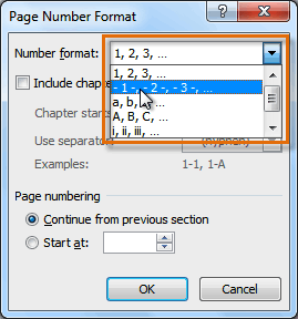 Selecting a number format