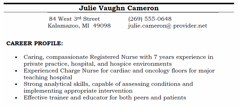 career profile screenshot - Profile Or Objective On Resume