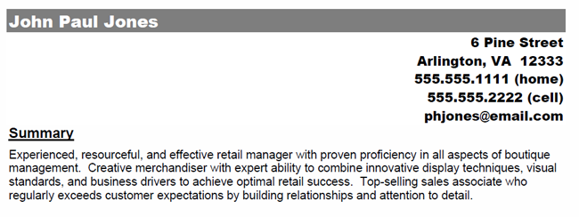 sample profiles for resume