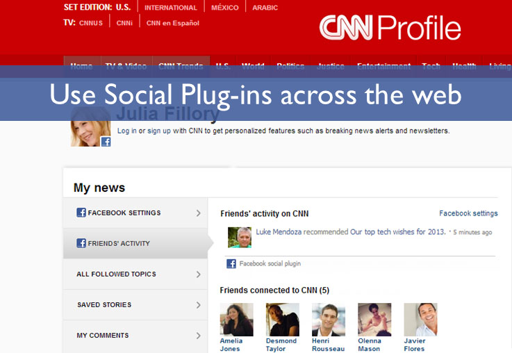Use social plug-ins across the Web