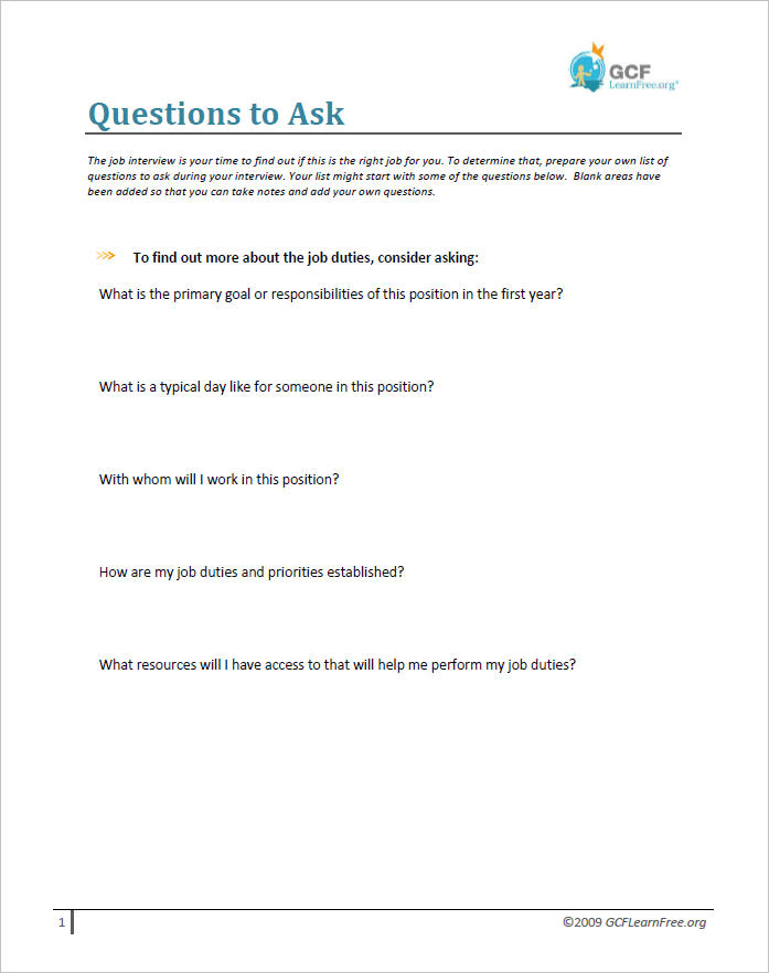 Questions to Ask Document