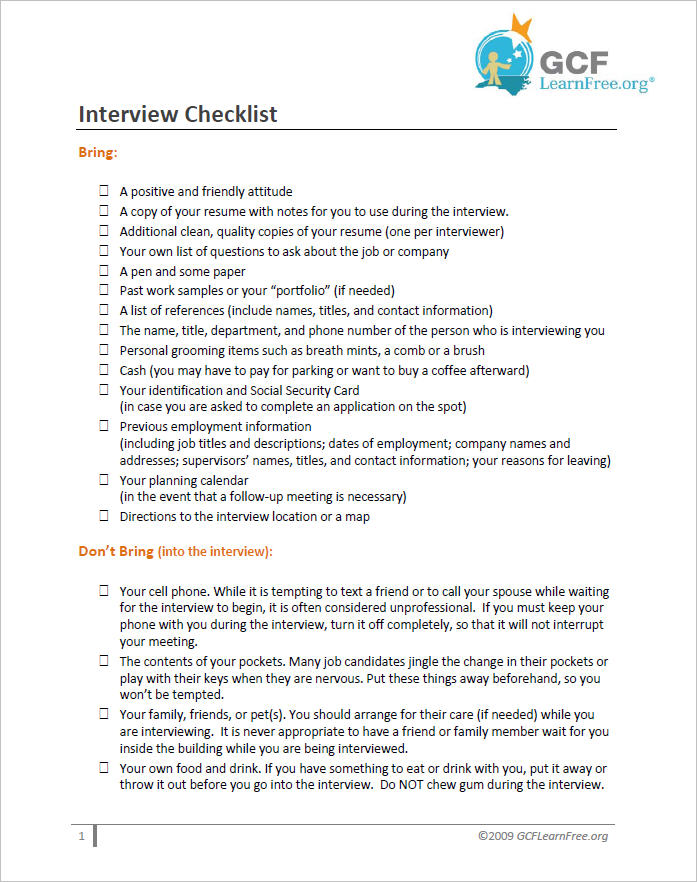 Interview Checklist Document