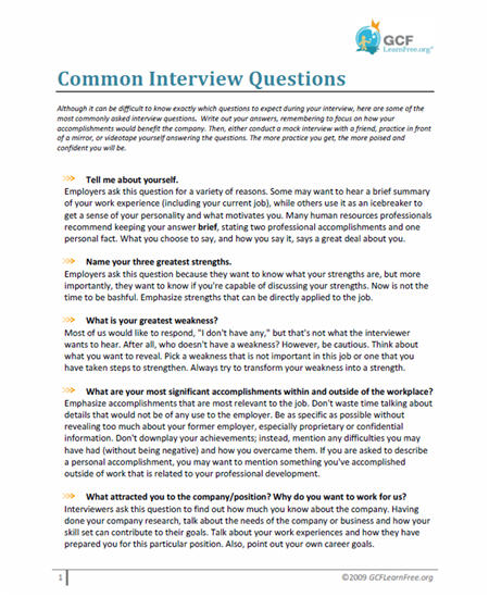 Common Interview Questions Document