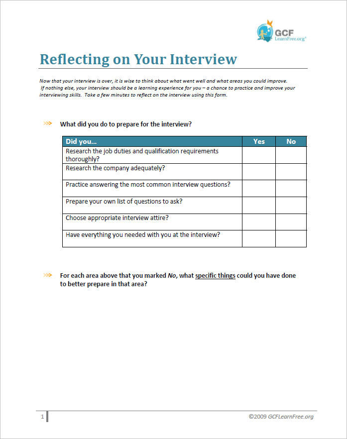Reflecting on Your Interview Document