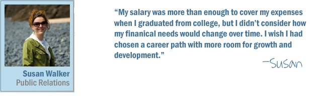 My salary was more than enough to cover my expenses when I graduated from college, but I didn't consider how my financial needs would change over time. I wish I had chosen a career path with more room for growth and development.-Susan