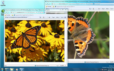 Windows 7 Desktop with overlapping images