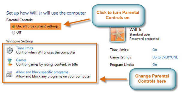 Parental Controls main page