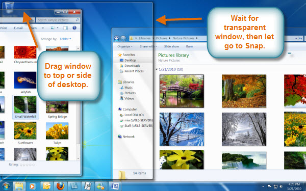 Windows showing snap action