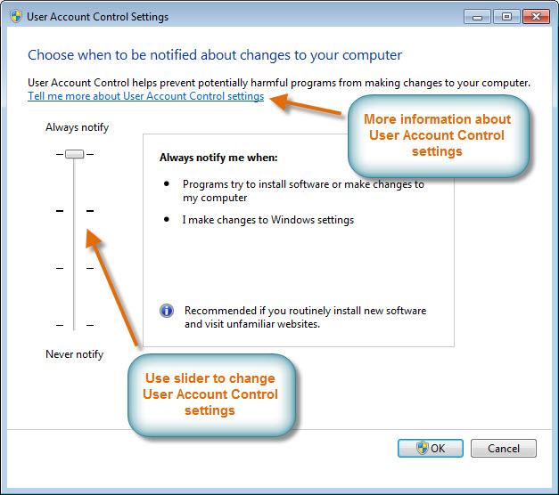 change user account control settings win 10