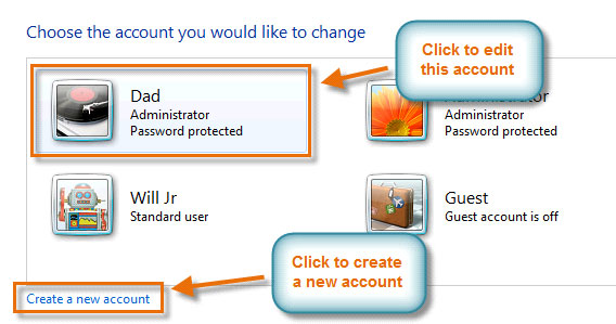The Manage Accounts pane