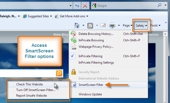 Access SmartScreen Filter