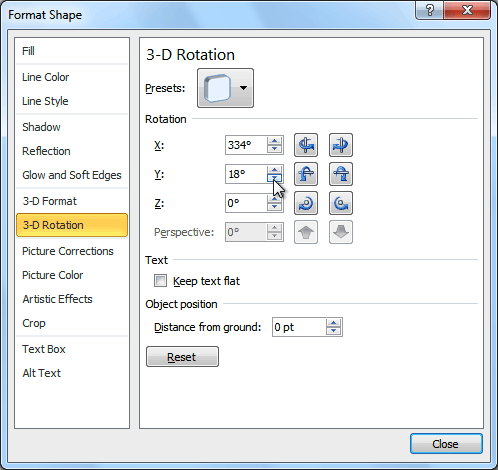 3-D Rotation Options