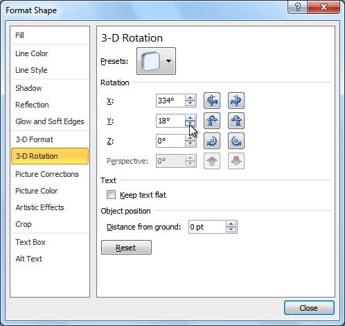 3-D Rotation Options