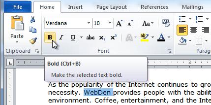 Создание текста жирным шрифтом