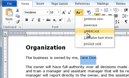 Изменение текстового футляра