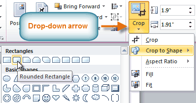 The Crop drop-down arrow and menu