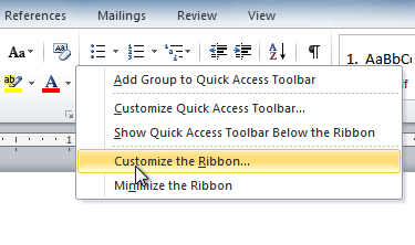 Clicking Customize the Ribbon