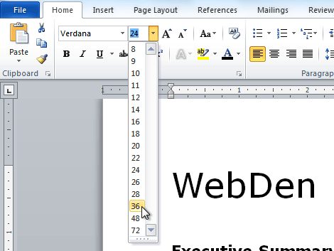 Word set default font and size | How to change the default
