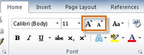 Команды Grow Font и Shrink Font