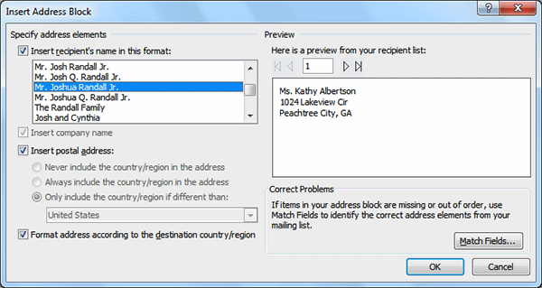 Adjusting the address block formatting