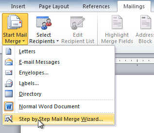 Selecting Step by Step Mail Merge Wizard
