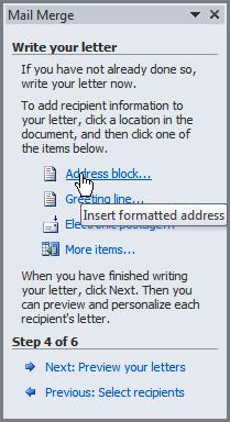 Inserting an address block
