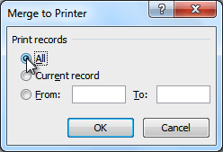 The Merge to Printer dialog box