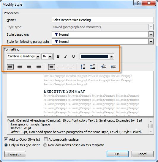 Параметры форматирования для стиля