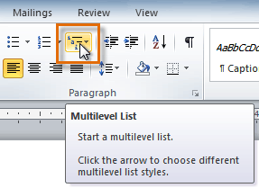 The Multilevel List command