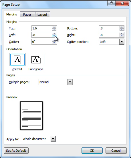 The Page Setup dialog box