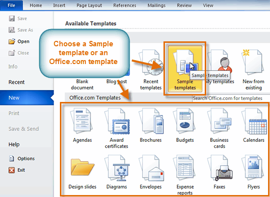 The New Document Pane  Free Word Templates 2010