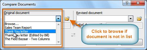 Выбор оригинального документа