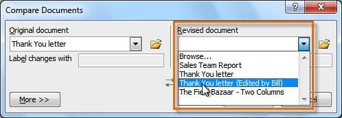Выбор пересмотренного документа