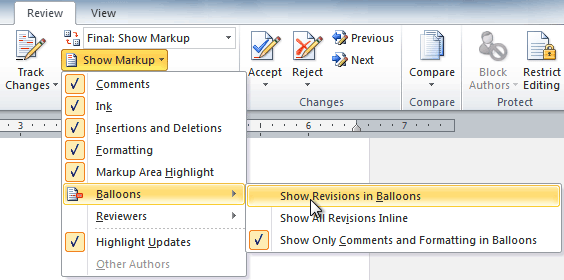 Showing revisions in balloons