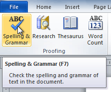 The Spelling and Grammar command