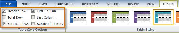 Параметры стиля таблицы