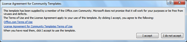 Warning message for a non-Microsoft template
