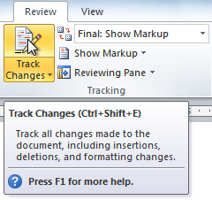 The Track Changes command