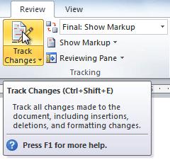 Команда Track Changes