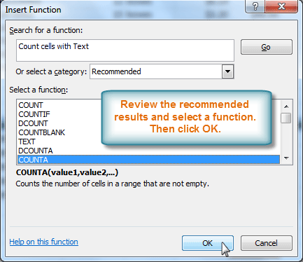Reviewing function search results